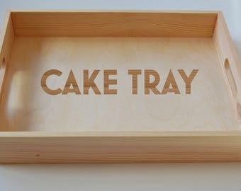 Cake Tray, Wooden Tray, Tea Tray,  Serving Tray, Gardening Tray, Engraved Family Tray