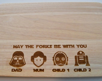 Star Wars Personalised Engraved Wooden Chopping Board - Light Wood - Cutting Board - Made to Order