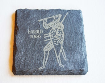 Hastings 1066 Slate Coasters, King Harold 1066 Slate Coasters, Battle of Hastings Gift, Engraved Slate Coasters, Custom Coasters