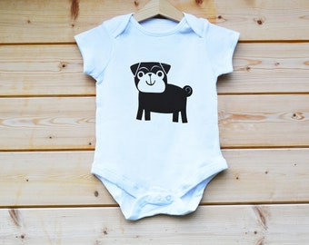 Pug BabyGrow, Hand Screen Printed BabyGrow, Hand Made, Baby Suit, Baby Vest, Baby Gift Designed by FlolliePopDesigns