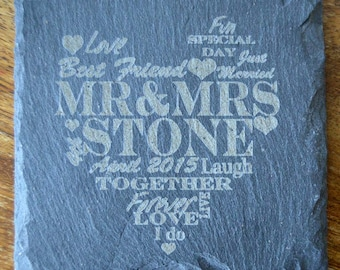 Personalised Engraved Slate Coasters,  Custom Coasters, Wedding Gift, House Gift, Anniversary, Wedding