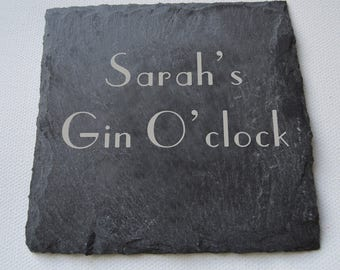 Personalised Engraved Slate Coasters, Drinks Coasters, Gin Lovers, Birthday Gift, Wedding Gift, Custom Coasters,  Mothers Day Gift