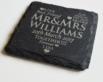 Personalised Engraved Slate Coasters, Personalised Slate Coasters, Custom Coasters, Slate Tiles Wedding Gift, House Gift, Anniversary