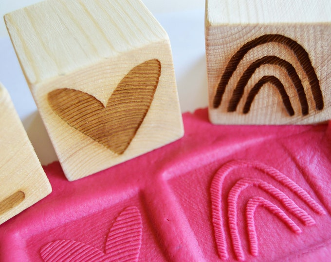Featured listing image: Wooden Playdough Letter Stamps, Letter Block Stamps, Personalised Childrens Playdough Set, Rainbow Playdough Stamps, I Love You Stamps
