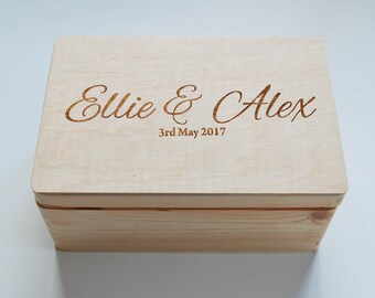 Personalised Wooden Wedding box, Mr&Mrs box, Photo Box, Photo Album, Guest Book, Personalised box, Keepsake box, Memory Box, Made to Order