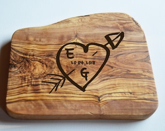 Personalised Valentines Chopping Board, Olive Wood Board, Cheese Board