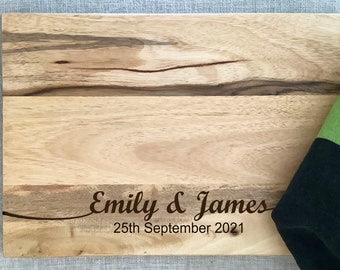 Personalised New Wedding Gift- Acacia Wood Chopping Board -Engraved Cutting Board - Custom Made - Cutting Board - Made to Order