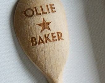 Personalised Bake Off & Star Baker Spoons, Custom Wooden Spoons, Wood Birthday, Childrens Gift, House Gift, Anniversary