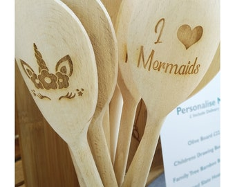 Mermaid and Unicorn Engraved Wooden Spoons, Bespoke & Personalised, Baking Parties, Bulk Custom Wooden Spoons, Childrens Birthday