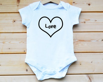 Love, Printed, White Baby Grow, Baby Suit, Baby Vest, Baby Gift