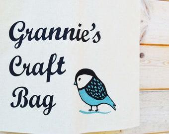 Personalised Tote Bag, Any Name Tote Bag, Your Quote Tote Bag, Knitting Tote Bag