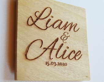 Personalised Engraved Wood Coasters, Bulk Order Wood Coasters, Wedding Favours Custom Coasters, Wood Anniversary Gift