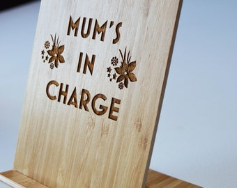 Personalised Mum's In Charge Mobile Phone Stand, Mothers Day Gift