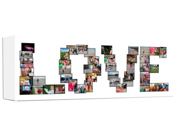 Photo Love Word Collage Canvas Panoramic Photo Gift