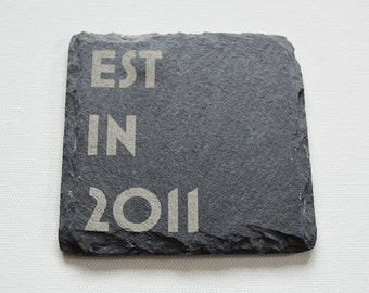 Personalised Engraved Slate Coasters, Personalised Slate Coasters, Est in Custom Coasters, Slate Tiles Wedding Gift, House Gift, Anniversary