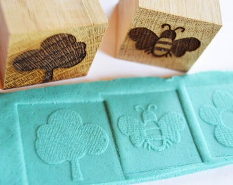 Childrens Oak Wood Engraved Nature Blocks, Playdough Stamps, Display Blocks, Childrens Stamp Gift Set, 6 stamps