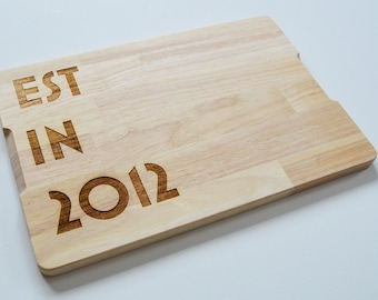 Personalised Date Cutting board - Custom Date chopping board - Established In Board - Weddings - Engagment - Anniversary