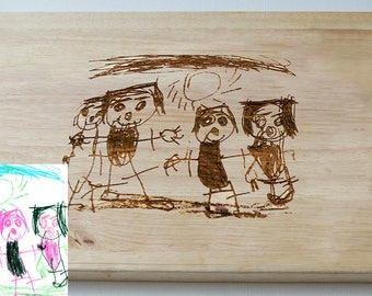 Personalised Chopping Board - Engraved Childrens Drawing - Artwork - Cutting Board - Made to Order
