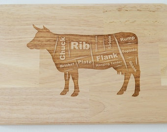 Butchers Cow Engraved Wooden Chopping Board, Meat Board, Wedding Gift, House Gift, Birthday Gift - Cutting Board - Made to Order