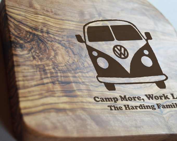 Featured listing image: Campervan Chopping Board, Olive Wood Board, Cheese Board, Camp More, Work Less VW Board