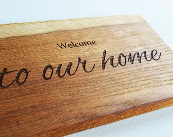 Engraved Solid Oak Wood Sign, House Name, Logo, Name, Any Text, Wedding Engraved Sign