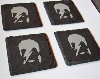 Bowie Engraved Slate Coasters, Set of 4 Coasters