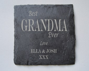 Fathers Day Gift, Personalised Engraved Slate Coasters, Set of Custom Coasters, Slate Tiles Wedding Gift, House Gift, Anniversary