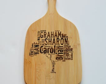 Personalised Engraved Paddle Chopping Board - Bamboo Wood - Family Tree - Personalised Heart - Cutting Board, Cheese Board
