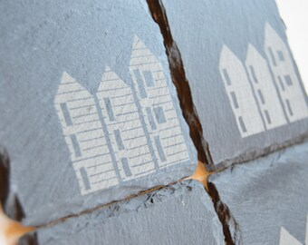 Hastings Fishing Huts Engraved onto Slate Coasters, Hastings Net Huts Slate Coasters, Engraved Slate Coasters, Custom Coasters