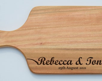 Custom Engraved Bamboo Paddle Board, Chopping Board, Cheese Board, Wedding Engagement Moving In Gift
