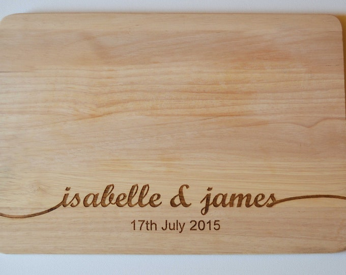 Featured listing image: Wedding Gift, Couples Gift, Personalised Chopping Board, Engraved Names Wedding Anniversary Chopping Cheese Board