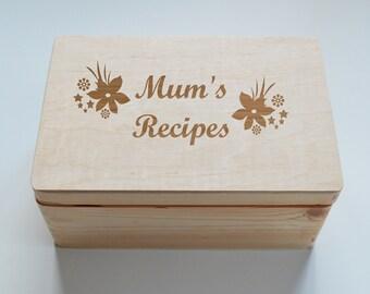 Mothers Day Gift, Personalised Wooden Box, Mummy's Recipes, Keepsake box, Recipe Box, Recipe Book, 20x30cm Box