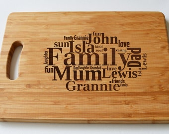 Personalised Gift Large Solid Wood Chopping Board -Engraved - Family Tree, Word Cloud, Personalised Heart - Cutting Board