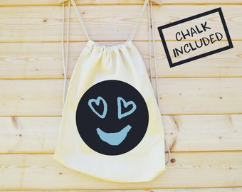 Chalk Your Own Bag, Toy Bag, Bedtime Bag, Screen Printed Chalk Board Rucksack, Games Bag, Star, Design your own Bag, Chalk on Kids Rucksack