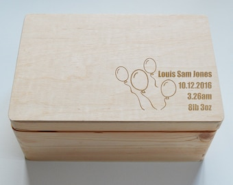 Baby Keepsake Box, Personalised Wooden Keepsake Box, Baby box, Christening Gift Box, Memory Box, 20x30cm Box