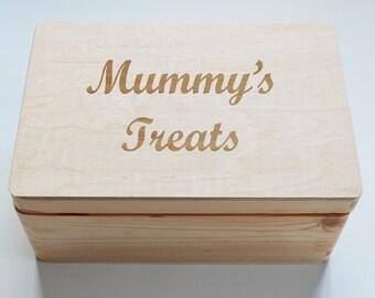 Mothers Day Gift, Personalised Wooden Box, Mummy's Treats, Mums Hobbies, Keepsake box, Recipe Box, Recipe Book, 20x30cm Box