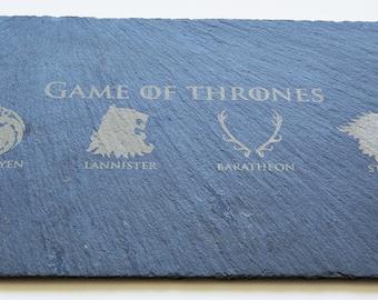 Game Of Thrones Engraved Slate Plate, Custom Slate Platter, Cheese board, Game Of Thrones Fans, Birthdays, House Gift, Anniversary