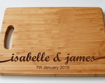 Personalised New Wedding Gift- Wood Chopping Board -Engraved Cutting Board - Custom Made - Cutting Board - Made to Order