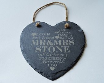 Personalised Engraved Slate Heart, Wedding Gift, House Gift, Anniversary, Valentines