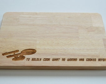 Star Trek Engraved Wood Chopping Board, To Boldly Go Quote, Cheeseboard, Star Ship Enterprise, Birthdays, Trekkie, 2 SIZES