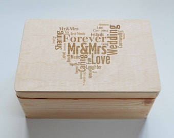 Personlised Keepsake Wooden Box, Wedding Gift Box, Alternative Photo Album, Baby Gift Box, , Christening Gift Box, Memory Box, 20x30cm Box