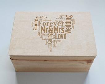 Personlised Keepsake Wooden Box, Wedding Gift Box, Alternative Photo Album, Baby Gift Box, , Christening Gift Box, Memory Box, 20x30cm Box