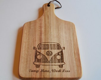 Campervan Chopping Board, Bamboo Paddle Board, Cheese Board, Camp More, Work Less VW Board