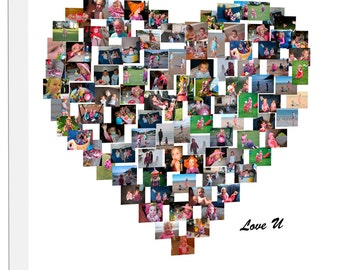 Personalised Collage Heart Shape Photo Collage on Canvas, Personalise Collage Framed Ready to Hang