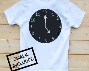 Clock Face Tshirt, Chalk Your Own T-Shirt, Screen Printed Chalk Board T-Shirt, Kids Cool T-Shirt, Design your own T-Shirt, Telling Time