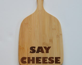 Say Cheese Engraved Paddle Chopping Board, Bamboo Wood Cheese Board