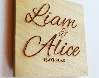 Wedding Coaster Favours, Personalised Engraved Wood Coasters, Bulk Order 2 - 50 Coasters, Wood Anniversary Gift