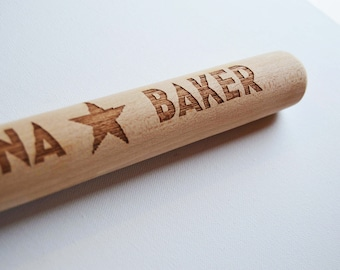 Personalised Engraved Rolling Pin, Custom Wooden Rolling Pin, Star baker, Birthday, Mothers Day, House Gift, Baking Parties