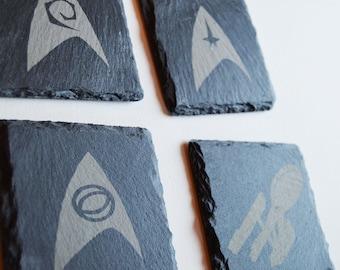 Star Trek Engraved Slate Coasters & Wood Coasters, Star Trek Fans, Trekkie, Birthdays, House Gift, Anniversary,  Tardis, Dalek