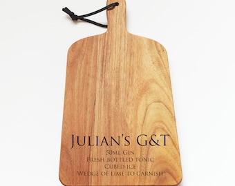 Personalised G&T Board, Engraved Solid Acacia Drinks Cutting Board, Gin and Tonic Board, Drinks Board